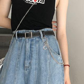 Leather | Black | Belt | Faux | Size | One