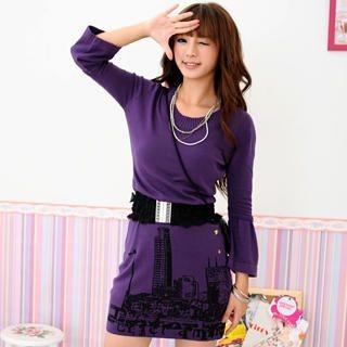 Buy Geri Inset Sleeve Metallic Print Sweater Dress 1021070607