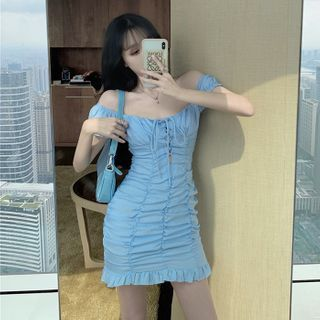 Image of Cap-Sleeve Chiffon Mini Sheath Dress