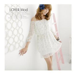 Buy LOYER.mod 3/4 Sleeve Off Shoulder Floral Print Chiffon Dress 1022596778