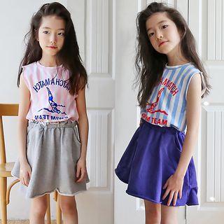 Sleeveless   T-Shirt   Stripe   Skirt   Print   Mini   Kid