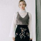 Sleeveless Wool Blend Furry-Knit Top 1596