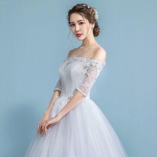 Image of Embellished Lace Off-Shoulder Wedding Ball Gown
