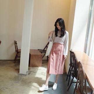Band-Waist Buttoned Cotton Long Skirt 1061742936