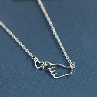 Heart & Hand Pendant Sterling Silver Necklace Silver - One Size