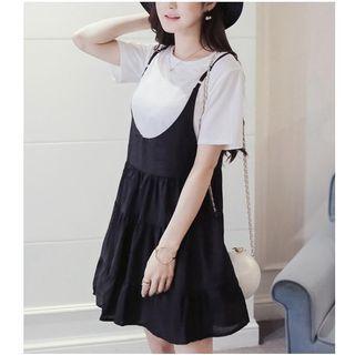 Set: Short-Sleeve T-Shirt + Strappy Dress 1050547392