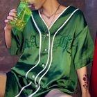 V-Neck Elbow-Sleeve Light Jacket Green - One Size 1596
