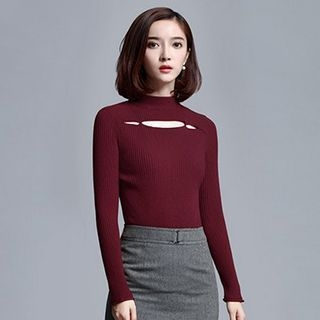 Mock Neck Cutout Long-Sleeve Knit Top 1053169418