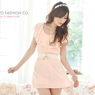 Buy Tokyo Fashion Ruffle-Collar Beaded Knit Dress 1022911427