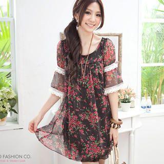 Buy Tokyo Fashion Elbow-Sleeve Floral Chiffon Dress 1022911643