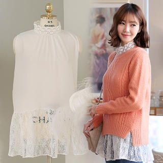Sleeveless Lace-Trim Top-image