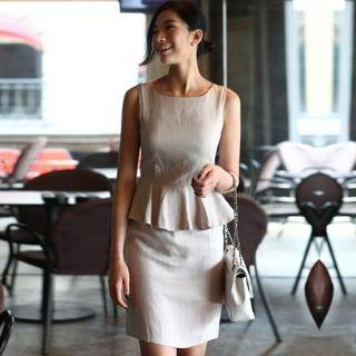 Buy ode' Peplum Hem Sleeveless Linen Dress 1022925274