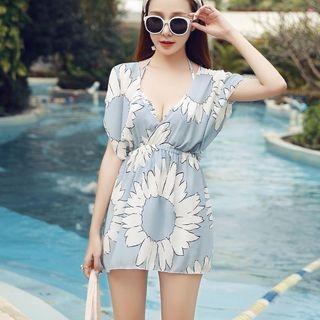 Set: Flower Print Bikini Top + Swim Shorts + Cover-Up 1063803844