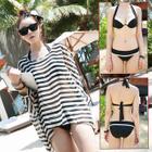 Set: Halter Bikini + Stripe Cover-up 1596