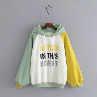 Image of Contrast-Color Lettering Hooded Pullover