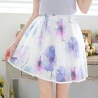 Paneled Printed A-Line Skirt 1596