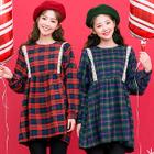 Puff-Sleeve Laced Plaid Mini Empire Dress 1596