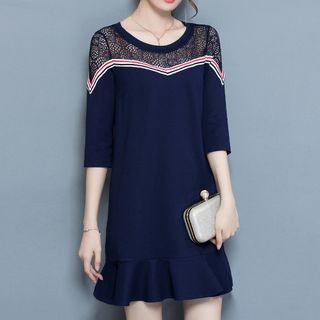 Picture for Mesh Yoke 3/4-Sleeve A-line Dress - United states