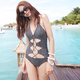 Picture of KENZI Lace-Up Dotted Swimsuit 1022806295 (KENZI Apparel, Womens Swimwear, South Korea Apparel, South Korea Swimwear)