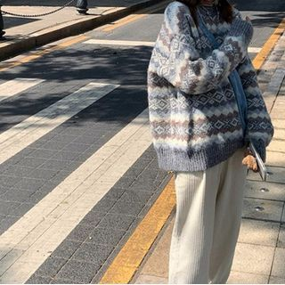 Jacquard Sweater / Corduroy Harem Pants / Set