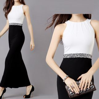 Embellished Sleeveless Color Block Maxi Dress 1050420900
