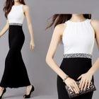 Embellished Sleeveless Color Block Maxi Dress 1596