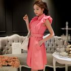 Cap-Sleeve Double-Breasted A-Line Dress 1596