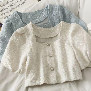 Image of Tweed Puff-Sleeve Crop Shirt