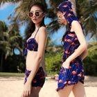 Set: Print Bikini Top + Swim Shorts + Playsuit 1596