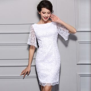 Elbow-Sleeve Lace Sheath Dress 1057304316