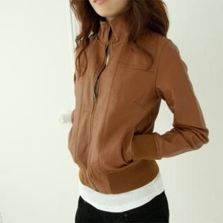 Buy Cookie 7 Funnel-Neck Faux Leather Zip Jacket 1021305261