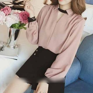 Happo Long-Sleeve Chiffon Blouse