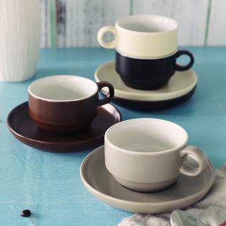 Set: Plain Ceramic Cup + Plate 1062352155