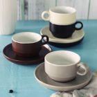 Set: Plain Ceramic Cup + Plate 1596