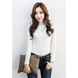 Mock-Neck Ribbed Top 1055179083