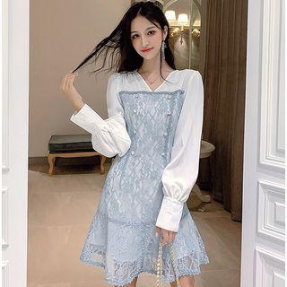 Long-sleeve | V-neck | Dress | Lace
