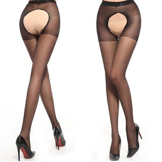 Crotchless Sheer Tights Black - One Size