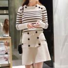 Set: Striped Knit Pullover + A-line Skirt 1596
