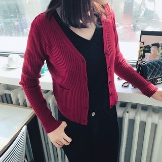 Ribbed V-neck Cardigan 1057803171