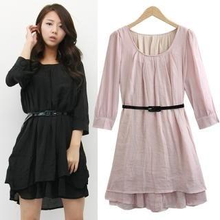 Buy HUE IT GIRL 3/4 Sleeve Layered Dress with Belt 1022568767