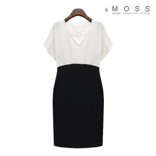 Buy MOSS V-Neck Short-Sleeve Color-Blocked Dress 1023066974