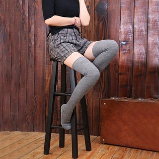 Image of Plain Thigh-High Socks