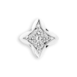 18K White Gold Diamond Accents Quatrefoil Cross Single Stud Earring (0.08cttw), Women Jewelry Gift - United states
