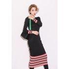 Contrast-Trim Ribbed Knit Dress 1596