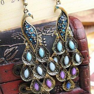 Rhinestone | Sapphire | Peacock | Earring | Dangle | Blue | Size | One