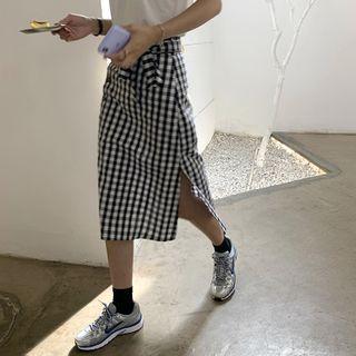Image of Gingham Button Slit Midi A-Line Skirt