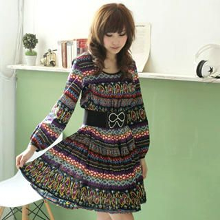 Buy MYHEART Long-Sleeve Patterned Dress 1022521881