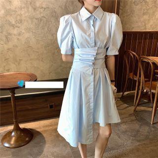 Image of Asymmetric Short-Sleeve Slim-Fit Shirtdress