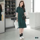 Short Sleeves Collar Ruffle Hem Shirt Dress 1596
