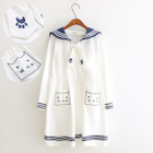 Cat Embroidered Sailor Collar Short-Sleeve Dress 1596